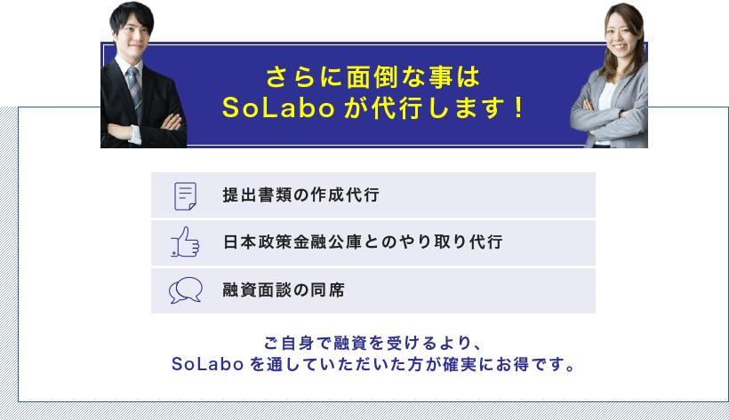 さらに面倒な事はSoLaboが代行します!融資面談の同席日本政策金融公庫とのやり取り代行提出書類の作成代行ご自身で融資を受けるより、SoLaboを通していただいた方が確実にお得です。